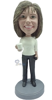 Custom Bobble Head Women With Coffee Premium | Gifts For Women