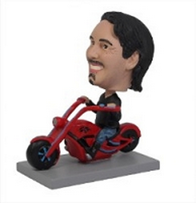 Man on custom chopper custom bobblehead doll (bobbing doll)