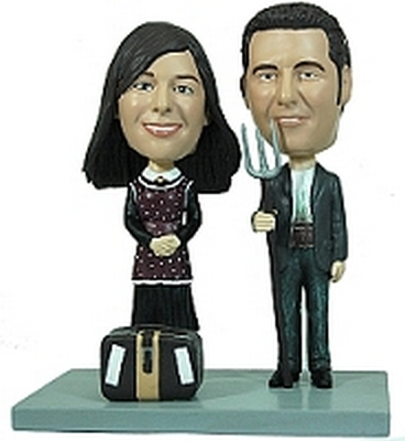 Couple With Pitchfork / Luggage Custom Bobble Head | Gift Ideas For Couples