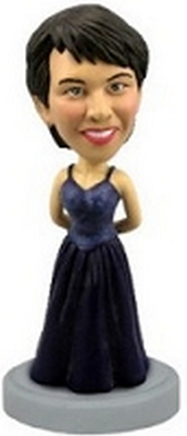 Custom Bobble Head Formal Dress Bridal Dark Blue Girl | Gifts For Women