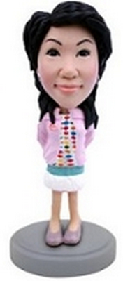 Custom Bobble Head Girl In Short Dress With A Jacket | Gifts For Women