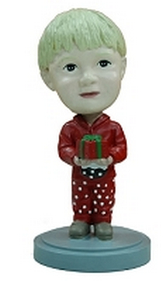 Holiday child with present custom bobblehead doll