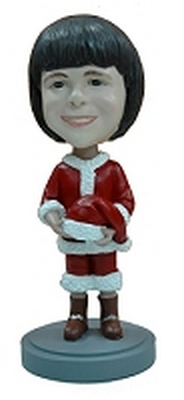 Holiday child dressed like Santa custom bobblehead doll