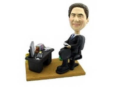 Executive at desk custom bobblehead doll