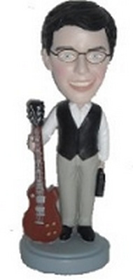 Man standing with guitar custom bobblehead doll