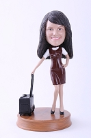 Custom Bobble Head Girl With Suitcase 2 Premium | Gifts For Women