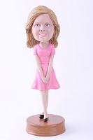 Custom Bobble Head Girl With Hands Together Premium | Gifts For Women