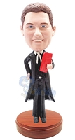 Lawyer in Suit holding custom bobblehead doll (bobbing doll)