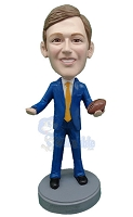 Executive in Suit holding 1 football custom bobblehead doll (bobbing doll)