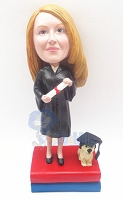 Custom Bobble Head Graduation Female With A Dog On The Base | Gifts For Women