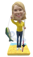 Custom Bobble Head Female Fisherman With Fishing Pole And Fish | Gifts For Women