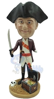 Male Pirate With Treasure Custom Bobble Head Premium | Gift ideas for men