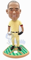 Baseball pitcher pose with ball in hand on a premium base custom bobblehead doll