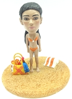 Custom Bobble Head Girl At The Beach Premium | Gifts For Women
