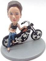 Custom Bobble Head Girl Leaning Sexy On A Motorcycle Premium | Gifts For Women