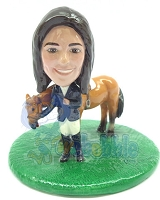 Custom Bobble Head Equestrian With Horse | Gifts For Women