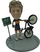 Custom Bobble Head Female On Bike Trail Premium | Gifts For Women