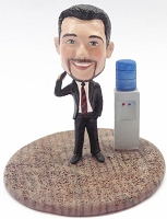 Male Executive On Phone At The Water Cooler Custom Bobble Head Premium | Gift ideas for men