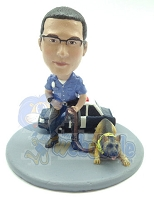 Officer and K9 custom next to their car bobblehead doll Premium