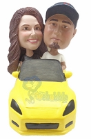 Couple In Sporty Car Custom Bobble Head 2 | Gift Ideas For Couples
