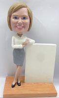 Custom Bobble Head Casual Business Woman, Leaning On A Sign | Gifts For Women