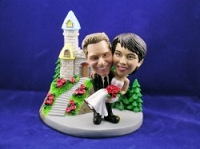 Man And Women With Castle Custom Bobble Head | Gift ideas for weddings