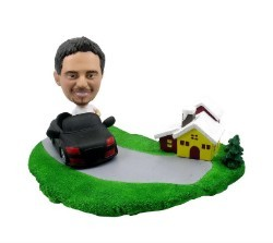 Man In Car With Scene Custom Bobble Head | Gift Ideas For Men