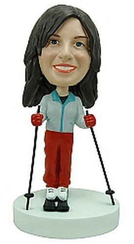 Female Skiing custom bobblehead doll