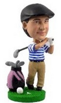 Golfer With Bag Custom Bobble Head (Bobbing )