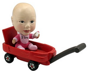 Baby Girl In Wagon Custom Bobble Head | Gift Ideas For Kids