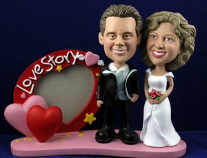 Sporty love story frame with couple personalized bobblehead doll