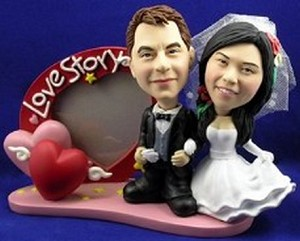 Wedding custom bobblehead doll  with frame (Black Tux)