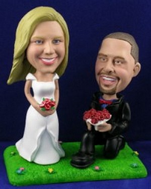 Wedding Couple Proposing (Sporty) Custom Bobble Head | Gift ideas for weddings