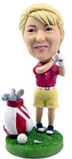 Girl Golf and bag custom bobblehead doll