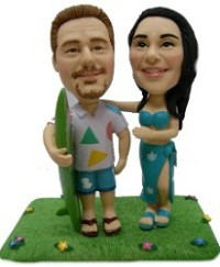 Hawaiian couple custom bobblehead doll