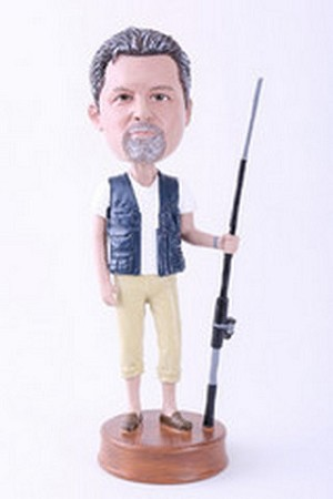 Man Fisherman With Fishing Pole Custom Bobble Head | Gift Ideas For Men