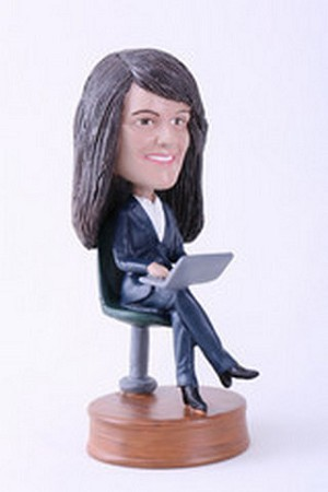Custom Bobble Head Girl Sitting With Laptop Premium | Gifts For Women