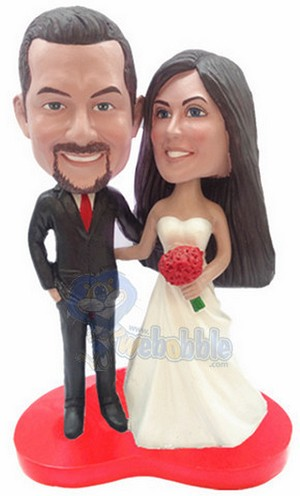 Wedding Cake Topper custom bobblehead doll on red heart