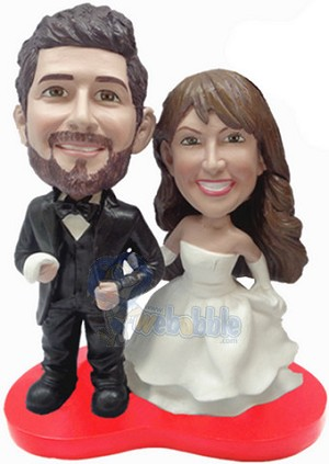 Wedding Cake Topper Custom Bobble Head On Red Heart And Bow Tie | Gift ideas for weddings