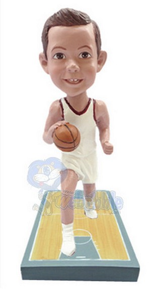 Basketball Player on a premium base court custom bobblehead doll 3