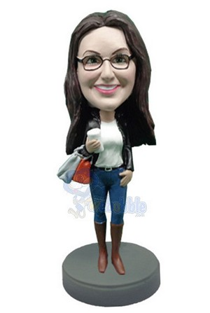 Shopping Girl with coffee custom bobblehead doll 4