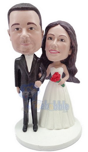 Wedding couple custom bobblehead doll  standing arm in arm