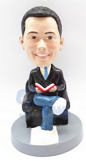 Male In Chair Reading A Book Custom Bobble Head | Gift Ideas For Men