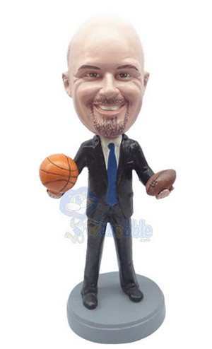 Executive In Suit Holding 2 Balls Custom Bobble Head | Gift Ideas For Men