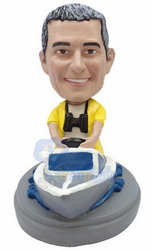 Man in boat custom bobblehead doll 3 (bobbing doll)