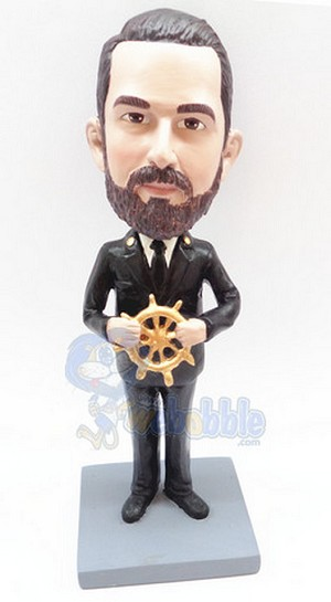 Captain steering his ship personalized bobblehead doll