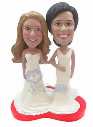 Same Sex wedding couple custom bobblehead doll