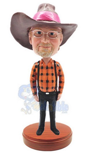 Male in suspenders custom bobblehead doll Premium