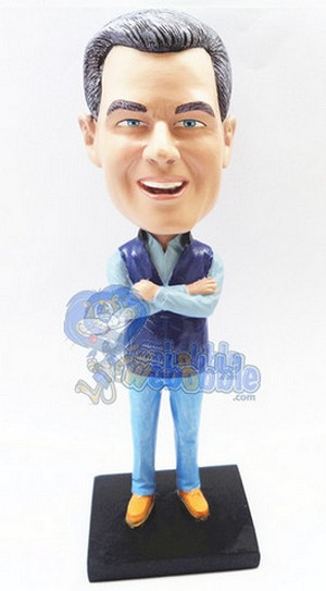 Man Holding His Hands Across His Chest Custom Bobble Head Premium | Gift Ideas For Men