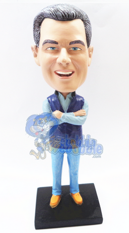 Man holding his hands across his chest custom bobblehead doll Premium